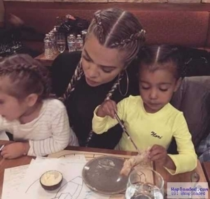 Braid gang! Khloe and her nieces,Nori and Penelope rocks matching braids